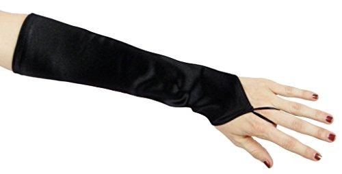 Cinderella Satin (Cinderella Satin Fingerless Elbow Length Gloves, Black)