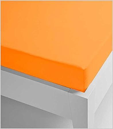 Miracle Home Sábana Bajera, Ajustable Elástica, Suave y Cómoda, Algodón 50% Poliéster, Naranja, 135 x 200 cm: Amazon.es: Hogar