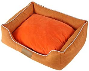 Sile ペットベッド、防水オックスフォード布屋内の取り外し可能で洗えるソフトクッション快適な ペットソファSL-013 (色 : オレンジ, サイズ さいず : L l)