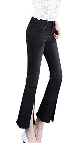 Coco Donna Skinny Pantalone Fashion Nero Tinta Jeans Irregolare Pantaloni Cracking Unita Flare Eleganti Clothing Calzoni CrwIqr