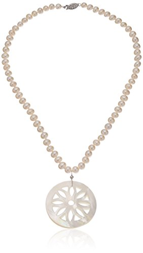 Sterling Silver 6-6.5mm White Freshwater Cultured Pearl 43mm Mother of Pearl Strand, 18'' by Amazon Collection