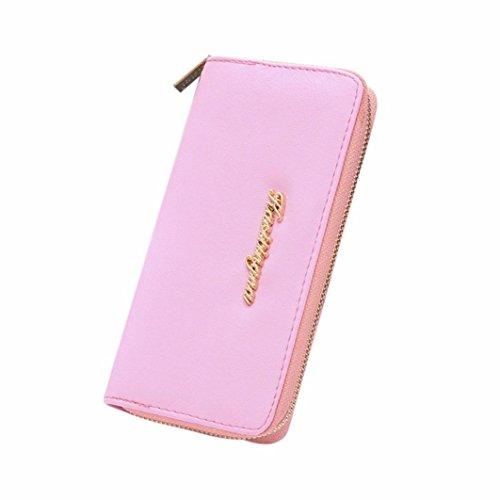 New Womens Long Shorts (GBSELL New Women Ladies LuxuryLetter Zipper Coin Purse Long Wallet Handbag (Pink ))