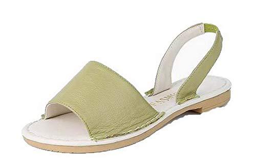 VogueZone009 Women Low-Heels Pull-On Open-Toe Sandals,CCALP015635 Green