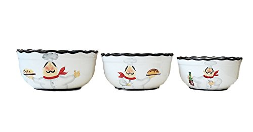 Tuscany Colorful Plump Bistro Chef Hand Painted 3pcs Bowl Set, 89169 by ACK