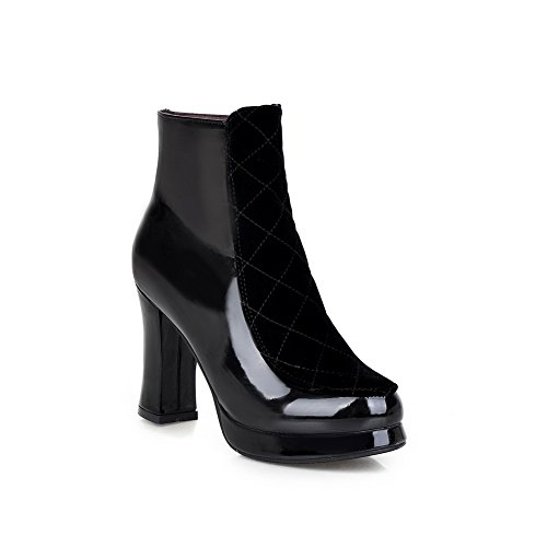 Platform Patent BalaMasa Heels Black Boots Leather Chunky Zipper Girls 4SaXIqR