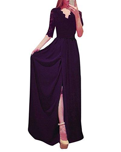 Cocktail Noir Soire 4 3 Maxi Manches V Longue Demoiselle Femme Robe Fte lgante Dentelle Col D'Honneur q8UwA1Zx