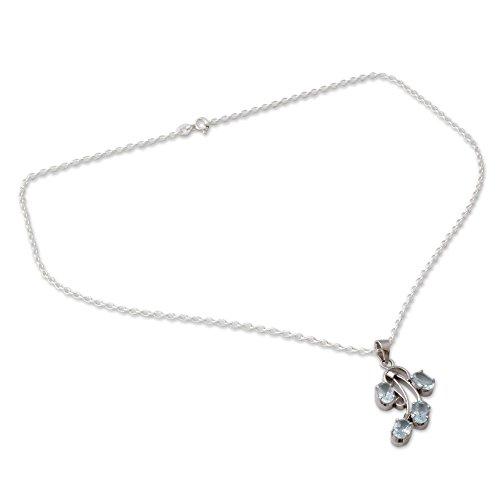 NOVICA Blue Topaz .925 Rhodium Plated Silver Pendant Necklace, 18