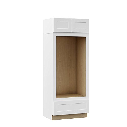 Hampton Bay Shaker Assembled 33 x 84 x 24 in. Pantry/Utility Double Oven Kitchen Cabinet in Satin White ()