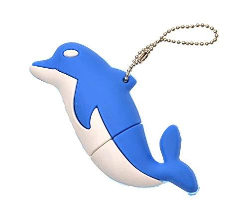 Flash Dolphins (High Speed Flash Drive 64GB USB 2.0 Memory Stick Novelty Animal Pendrive Cartoon Blue Dolphin for Data Storage by FEBNISCTE)