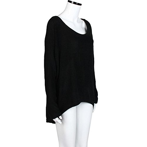 Mujeres Camiseta - Rcool Batwing Manga Suelto Oversize Suéter Pull-over Casual Parte Superior Blusa Negro