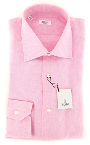Barba Napoli Pink Patterned Button Down Spread Collar Linen Slim Fit Dress Shirt, Size xx-Small 14.5 Barba Napoli Linen Shirt