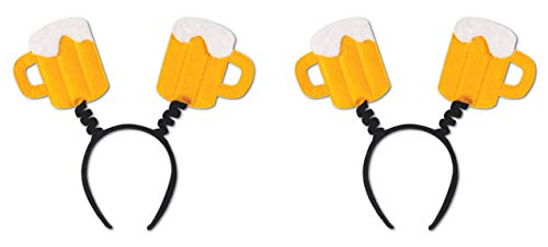 (Beistle S60592AZ2 Beer Mug Boppers 2 Piece, One Size Fits Most Most, Yellow/White/Black )