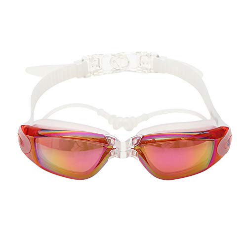 Price comparison product image HEEGNPD Swimming Goggles Colorful Pool Earplug Professional UV Silicone Waterproof Arena Swim Eyewear Adult Diving Glasses, D
