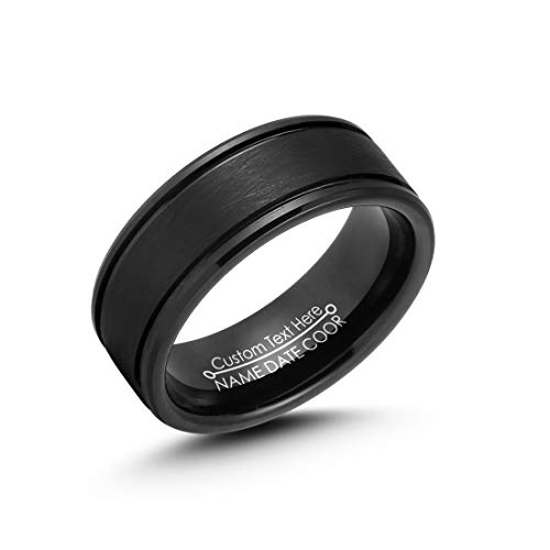 LerchPhi Tungsten Rings for Men Free Custom Engraved Black Wire Brushed Finish Beveled Edge
