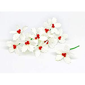 "2.5"" White Poinsettia Paper Flowers Artificial Poinsettias Flowers Paper Poinsettia Christmas Flowers Fake Poinsettia Flowers Mulberry Paper Flowers, 25 Pieces 3"