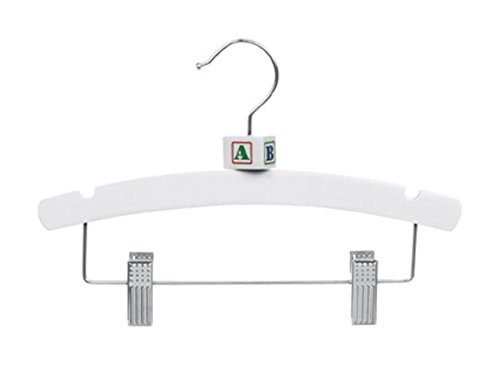 Pant Top Combo Wood Hangers With Clips Children Retail Display Store 10'' White Lot of 100 New by Bentley's Display