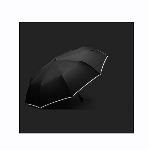 Reinforced Fiberglass Ribs - Isa Fully Automatic Reinforced Windproof Umbrella Encryption Thick Cloth Umbrella with Reflective Strip,Black