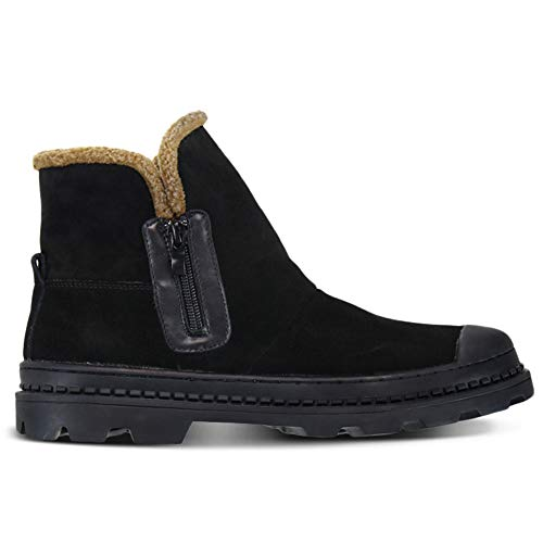 Flats Furry Stivali Mucca Safety Footwear In Pelle Calda Di Scarpe Da Laterale Fur Scamosciata Cerniera Stivaletti Work Invernali Uomo Casual wnqwC6rOF