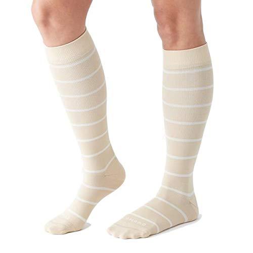 COMRAD | Premium and Stylish Compression Socks for Multipurpose Wear (Almond/Milk Stripe, Small)