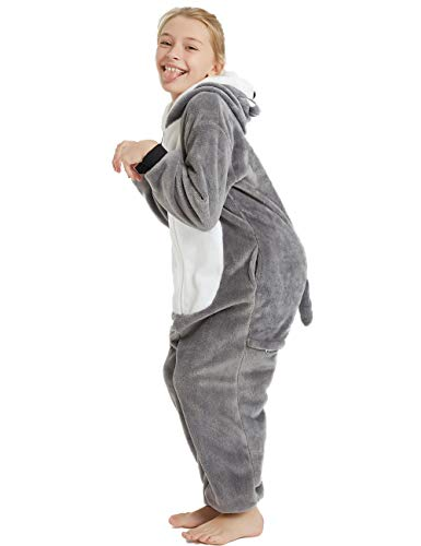 Animal Onesie Kids Unisex Onepiece Pajamas Halloween Cosplay Party Costume Loungewear Grey Puppy Dog L