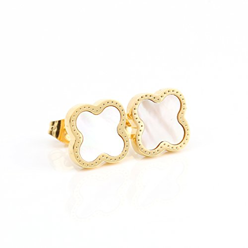- Delicate Gold Tone Post Earrings with Contemporary Clover Design and Faux Mother-Of-Pearl Inlay (160014)