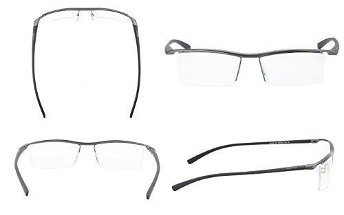 7c13efebda Agstum Pure Titanium Half Rimless Business Glasses Frame Optical Eyeglasses  Clear Lens (Gunmetal)  Amazon.in  Clothing   Accessories