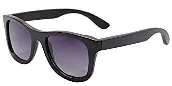 Polished Wood Sunglasses Wooden Wayfarers Polarized Flash Mirror Lens with Case- Z6016(bamboo black,gradient grey)