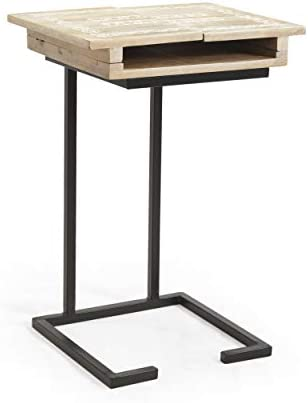 Christopher Knight Home Evangeline Mango Wood C-Shaped End Table, Natural, Black