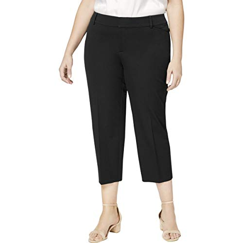 (Charter Club Womens Plus Tummy Slimming Colored Cropped Pants Black 24W)