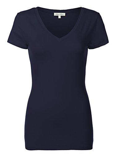Luna Flower Basic Cotton Slim Short Sleeve Deep V-neck T-Shirt Tops 092-Navy US M