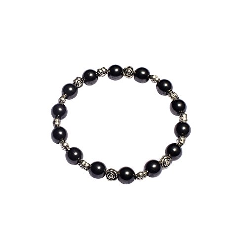 USWEL Women's Hematite Bracelet Adjustable Magnetic Healing Hand Made Crystals and Antique Beads (Antique) (Bead Magnetic Jewelry Crystal)