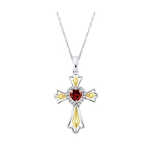 14k Gold Over Cross Pendant Simulated Garnet Fleur-de-lis Cross Halo Heart Prayer Christian Pendant Necklace 18 inches Easter Day Gift 14k Garnet Cross Pendant