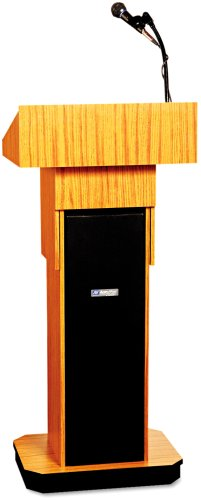 (Amplivox S505AMO Executive Adjustable Sound Lectern, Column, 24w x 17-1/2d x 36-44h, Medium Oak)