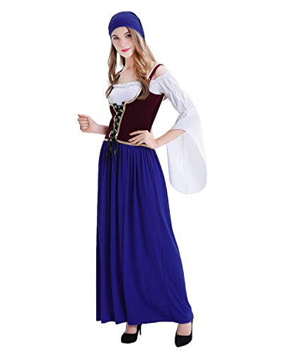 Quesera Women's Oktoberfest Costume Adult Tavern Wench Peasant Lady Renaissance Outfit, Blue, Tag Size L=US Size Medium