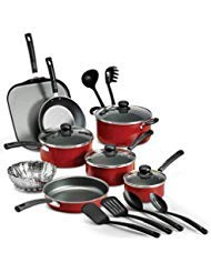 18 Piece Nonstick Pots & Pans Cookware Set Kitchen Kitchenware Cooking NEW (RED) - Red Tool Kitchen Cookware
