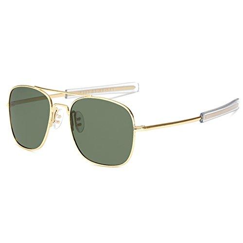 LUDEM Mens Military Aviator Sunglasses Polarized Square 55mm Pilot Bayonet Temples (Gold & Dark Green, 55)