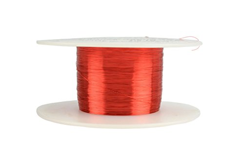 TEMCo 38 AWG Copper Magnet Wire - 2 oz 2408 ft 155C Magnetic Coil Red