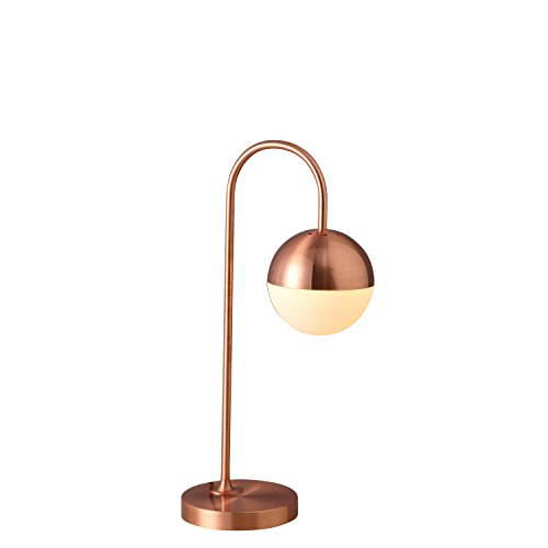 (GlanzLight GL-61712-C,Modern Simple Globe Table Lamp, Study Table Light Rose Gold, Metal Desk Light for Bedroom,Glass Lampshade Iron Lampbody)