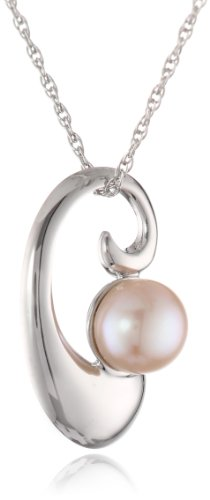 Pearl Swirl Pendant - Sterling Silver 7-7.5mm Pink Freshwater Cultured Pearl Swirl Pendant Necklace, 18