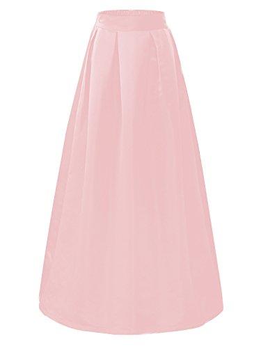 CoutureBridal Femme Jupe Casual Longue Femme Maxi pour Soire Haute Taille Satin Pink