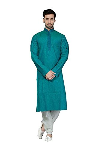 Da Facioun IT Mens Kurta Pajama Wedding Cotton Silk Tourquise India Party Wear Set by Da Facioun