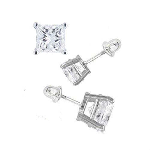 14K White Gold 3mm Princess Cut Simulated Diamond Stud Earring Set On Prong Setting Screw Back Post
