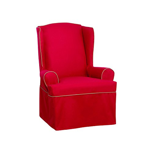 SureFit Monaco Tailored Skrt - Wing Chair Slipcover  - Red/Khaki (SF44770)