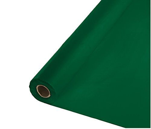 Creative Converting Roll Plastic Table Cover, 100-Feet, Hunter Green