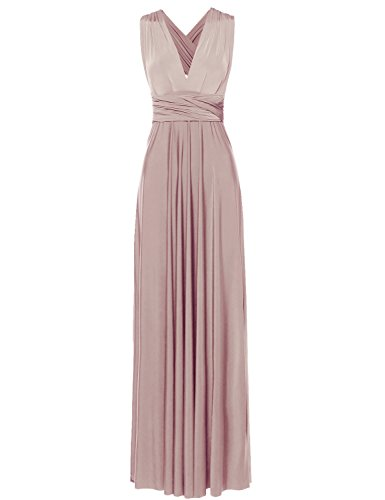 Awesome21 Stunning Convertible MultiWay Wrap Long Maxi Dress Lightpink Size L