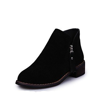 Camel Combat Fall RTRY Black Boots US6 Women's Low Toe UK4 Shoes CN36 Zipper Heel EU36 Burgundy Casual For Boots Round Suede CIqZwq