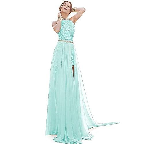 Babyonline Aqua Lace Chiffon Bridesmaid Dresses Long Maxi Prom Dresses