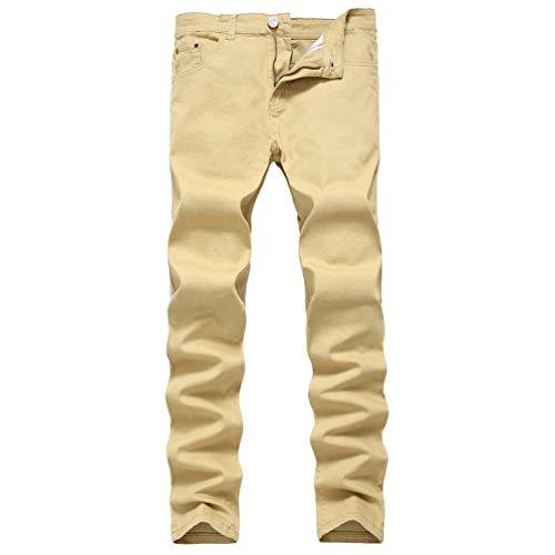 Uomo Biker Khaki Fit Huixin Jeans Skinny Slim Denim Distrutto Da Casual Pantaloni Strech Stonewashed Used Look w4pEZX