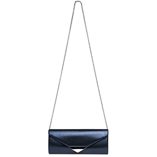 Dark Decor Metal with Satin CASPAR Clutch Evening TA417 Bag Envelope Blue Elegant Ladies wBPq40qF