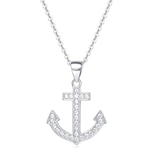 - Fancime Sterling Silver Anchor Pendant Necklace Sparkling Cubic Zirconia Gold Plated Necklace for Women Girls With Box 16